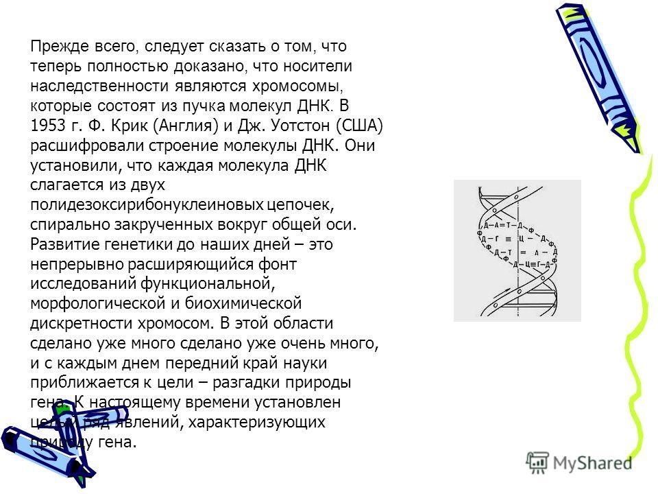 Прежде всего, следует сказать о том, что теперь полностью доказано, что носители наследственности являются хромосомы, которые состоят из пучка молекул ДНК. В 1953 г. Ф. Крик (Англия) и Дж. Уотстон (США) расшифровали строение молекулы ДНК. Они установ