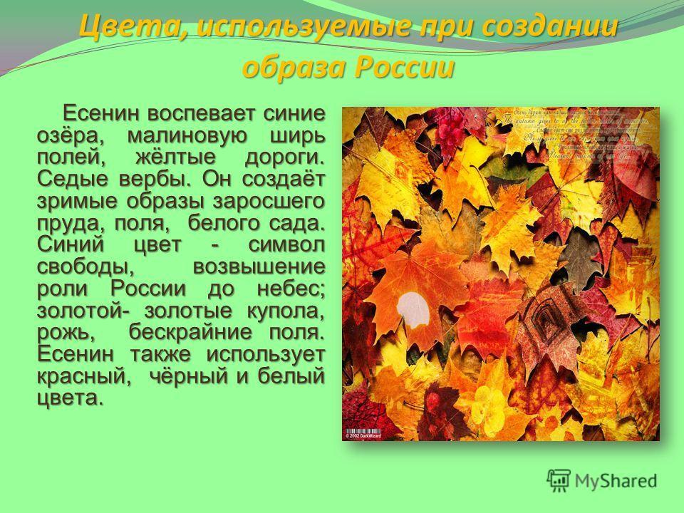 Цвета, используемые при создании образа России Есенин воспевает синие озёра, малиновую ширь полей, жёлтые дороги. Седые вербы. Он создаёт зримые образы заросшего пруда, поля, белого сада. Синий цвет - символ свободы, возвышение роли России до небес;