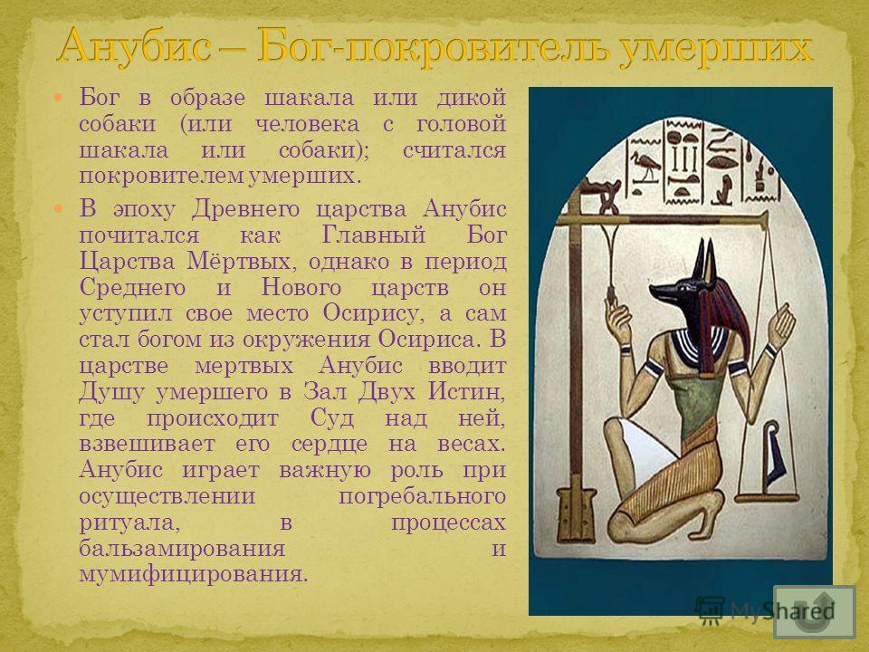Бог в образе шакала или дикой собаки (или человека с головой шакала или собаки); считался покровителем умерших. В эпоху Древнего царства Анубис почитался как Главный Бог Царства Мёртвых, однако в период Среднего и Нового царств он уступил свое место