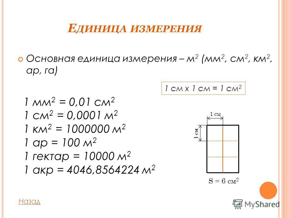 Е ДИНИЦА ИЗМЕРЕНИЯ Основная единица измерения – м 2 (мм 2, см 2, км 2, ар, га) 1 см x 1 см = 1 см 2 1 мм 2 = 0,01 см 2 1 см 2 = 0,0001 м 2 1 км 2 = 1000000 м 2 1 ар = 100 м 2 1 гектар = 10000 м 2 1 акр = 4046,8564224 м 2 Назад 1 см S = 6 см 2