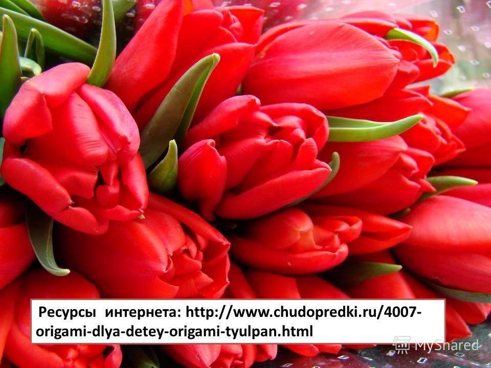 Ресурсы интернета: http://www.chudopredki.ru/4007- origami-dlya-detey-origami-tyulpan.html