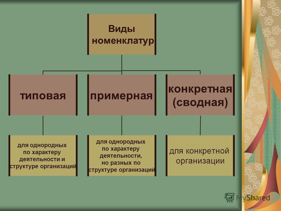 Виды номенклатур типовая для однородных по характеру деятельности и структуре организаций примерная для однородных по характеру деятельности, но разных по структуре организаций конкретная (сводная) для конкретной организации