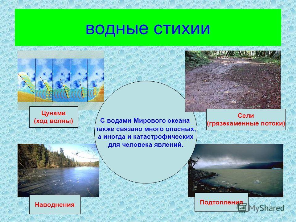 водные стихии С водами Мирового океана также связано много опасных, а иногда и катастрофических для человека явлений. Цунами (ход волны) Сели (грязекаменные потоки) Наводнения Подтопления