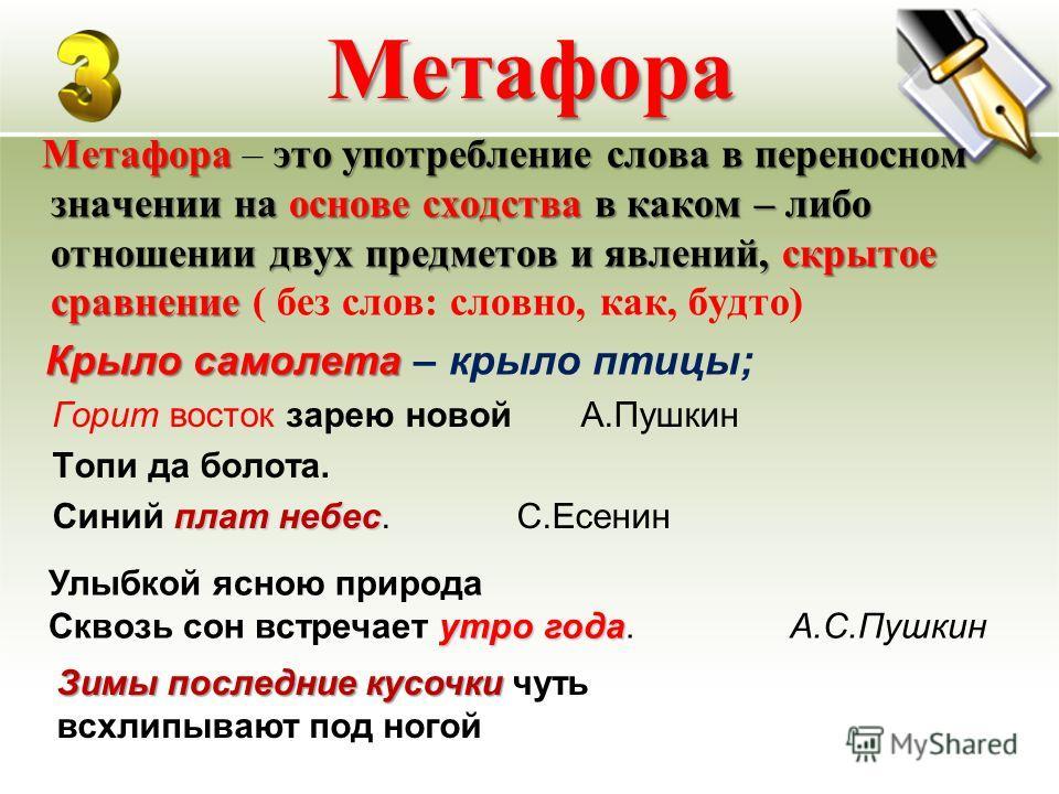 Метафора Метафора это употребление слова в переносном значении на основе сходства в каком – либо отношении двух предметов и явлений, скрытое сравнение Метафора – это употребление слова в переносном значении на основе сходства в каком – либо отношении