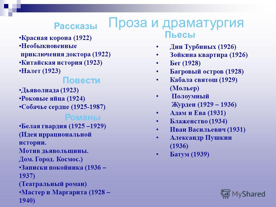 Михаил Афанасьевич Булгаков (1891– 1940) родился в семье профессора Духовной академии. В 1909 – 1916 годах изучает медицину, весной 1916 года кончает курс и уезжает на Юго-Западный фронт. В сентябре Булгакова отзывают с фронта: он становится сельским