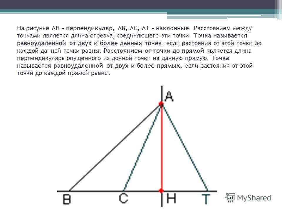 На рисунке АН - перпендикуляр, АВ, АС, АТ - наклонные. Расстоянием между точками является длина отрезка, соединяющего эти точки. Точка называется равноудаленной от двух и более данных точек, если растояния от этой точки до каждой данной точки равны.