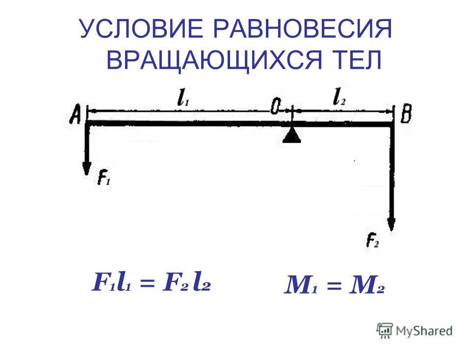УСЛОВИЕ РАВНОВЕСИЯ ВРАЩАЮЩИХСЯ ТЕЛ F 1 l 1 = F 2 l 2 M 1 = M 2