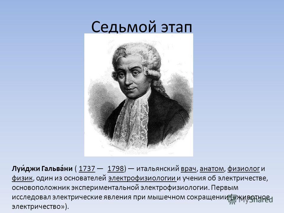 Седьмой этап Луи́джи Гальва́ни ( 1737 1798) итальянский врач, анатом, физиолог и физик, один из основателей электрофизиологии и учения об электричестве, основоположник экспериментальной электрофизиологии. Первым исследовал электрические явления при м