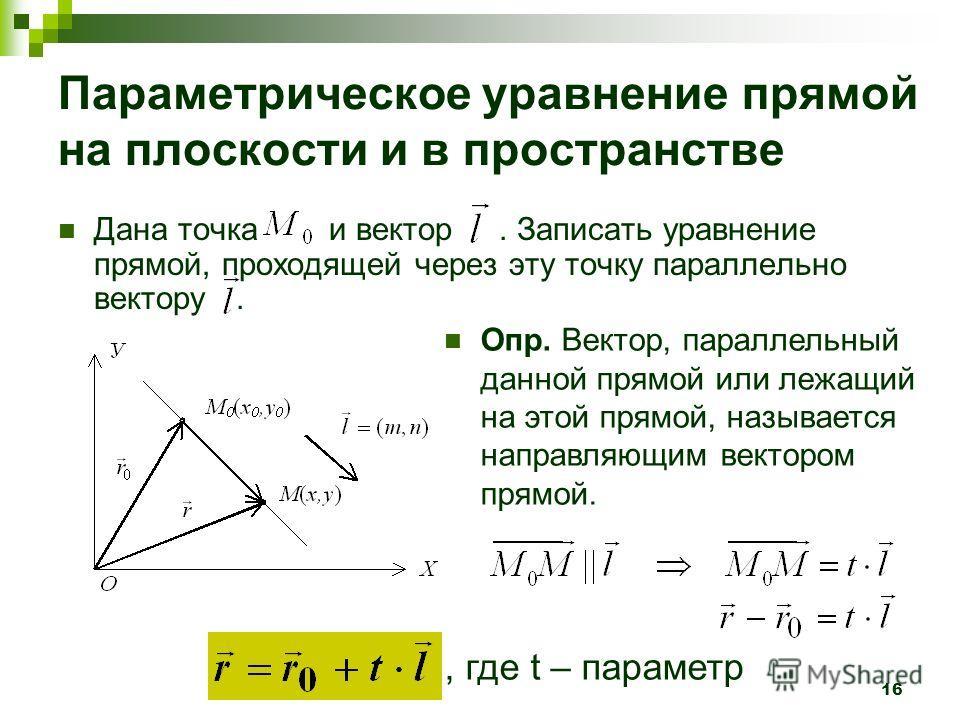 16 Параметрическое уравнение прямой на плоскости и в пространстве Дана точка и вектор. Записать уравнение прямой, проходящей через эту точку параллельно вектору. Опр. Вектор, параллельный данной прямой или лежащий на этой прямой, называется направляю