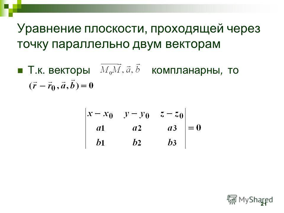 21 Уравнение плоскости, проходящей через точку параллельно двум векторам Т.к. векторы компланарны, то