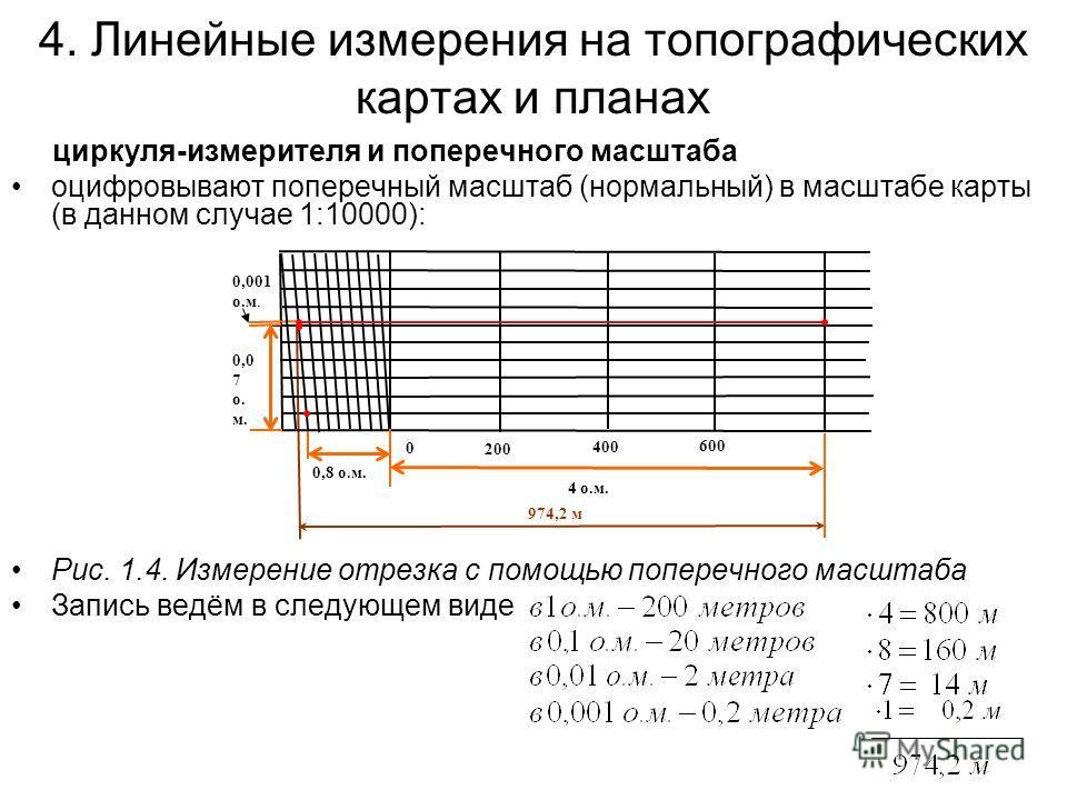 4. Линейные измерения на топографических картах и планах циркуля-измерителя и поперечного масштаба оцифровывают поперечный масштаб (нормальный) в масштабе карты (в данном случае 1:10000): Рис. 1.4. Измерение отрезка с помощью поперечного масштаба Зап