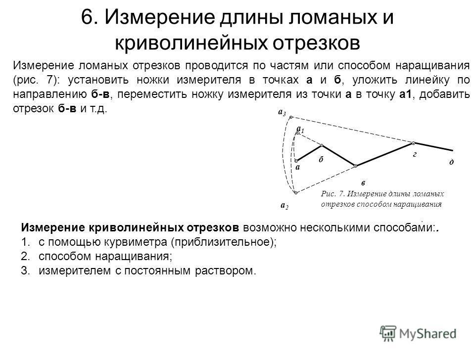 6. Измерение длины ломаных и криволинейных отрезков Измерение ломаных отрезков проводится по частям или способом наращивания (рис. 7): установить ножки измерителя в точках а и б, уложить линейку по направлению б-в, переместить ножку измерителя из точ