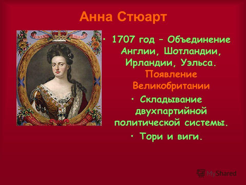 Анна Стюарт 1707 год – Объединение Англии, Шотландии, Ирландии, Уэльса. Появление Великобритании Складывание двухпартийной политической системы. Тори и виги.