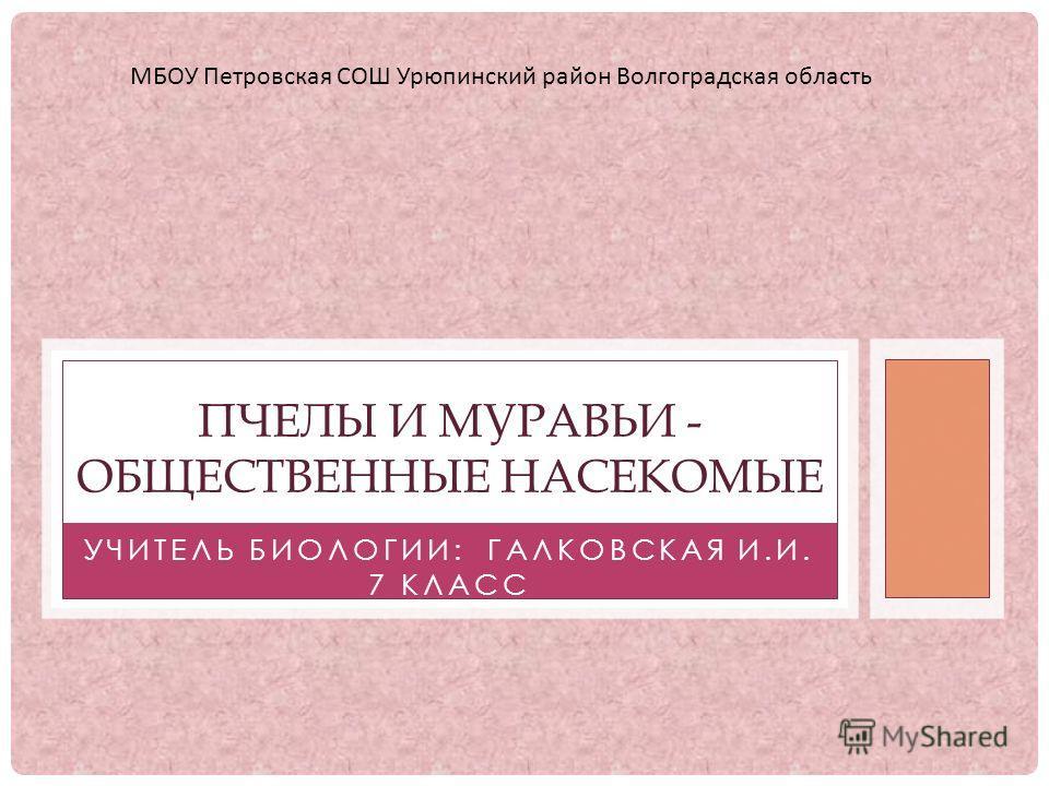 Учитель биологии галковская и и 7