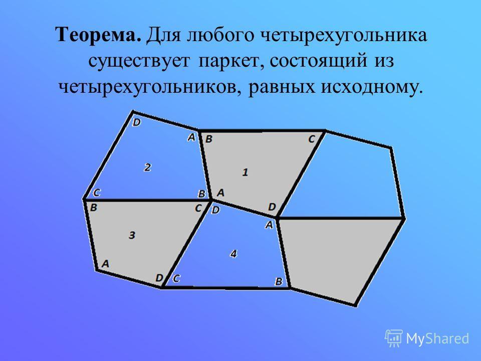 Теорема. Для любого четырехугольника существует паркет, состоящий из четырехугольников, равных исходному.