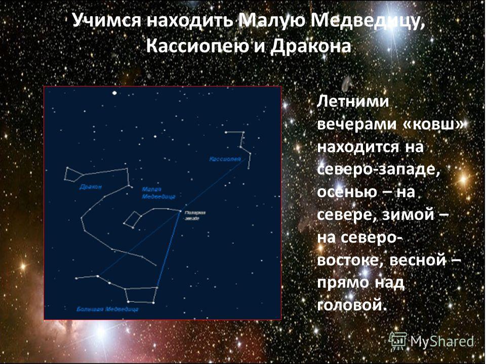 Учимся находить Малую Медведицу, Кассиопею и Дракона Летними вечерами «ковш» находится на северо-западе, осенью – на севере, зимой – на северо- востоке, весной – прямо над головой.