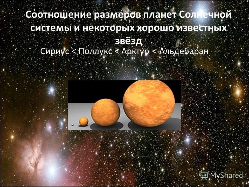 Соотношение размеров планет Солнечной системы и некоторых хорошо известных звёзд Сириус < Поллукс < Арктур < Альдебаран