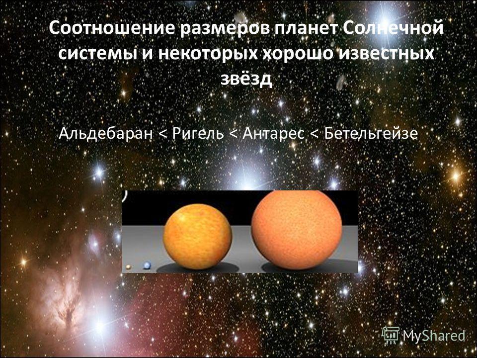 Альдебаран < Ригель < Антарес < Бетельгейзе Соотношение размеров планет Солнечной системы и некоторых хорошо известных звёзд