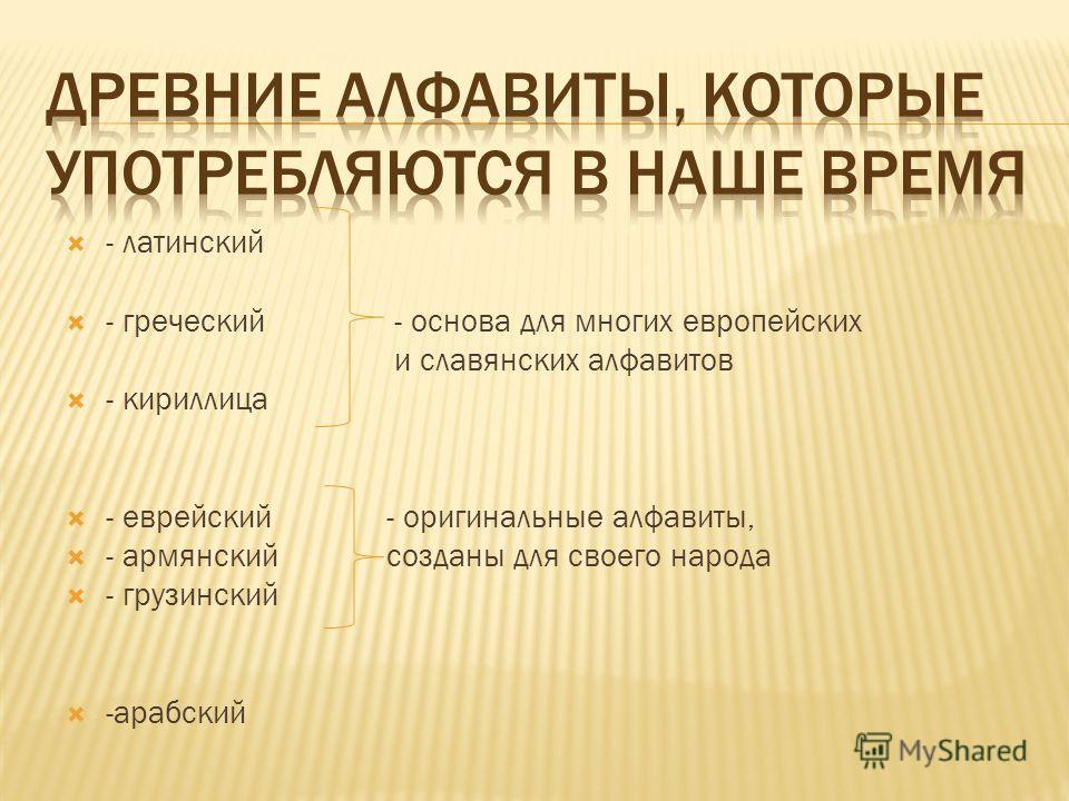 - латинский - греческий - основа для многих европейских и славянских алфавитов - кириллица - еврейский- оригинальные алфавиты, - армянскийсозданы для своего народа - грузинский -арабский