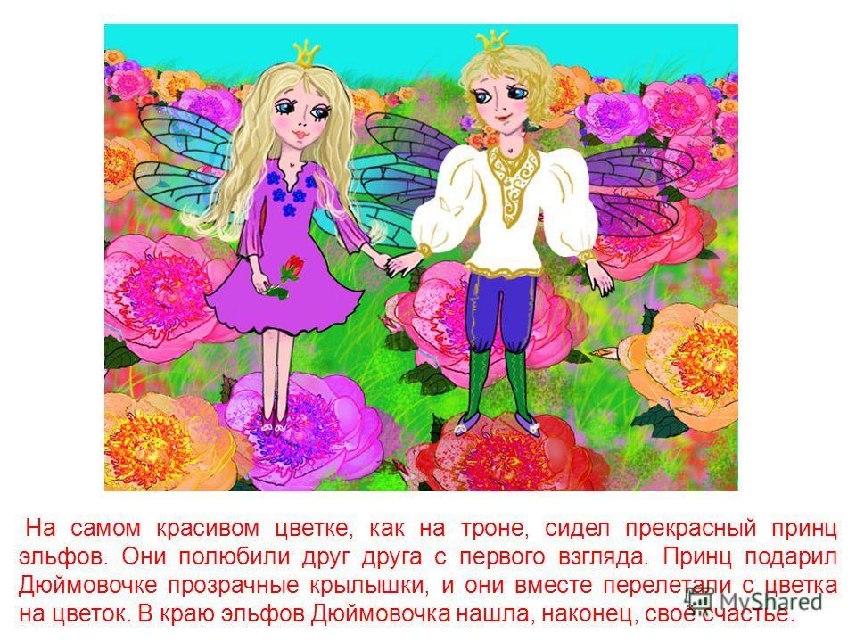 Ласточка не забыла свою спасительницу. Однажды она вернулась за ней и спасла Дюймовочку от подземной жизни. Она унесла её в сказочный край, где всегда весна и цветут удивительные цветы. В каждом цветке там жили эльфы – маленькие человечки с прозрачны