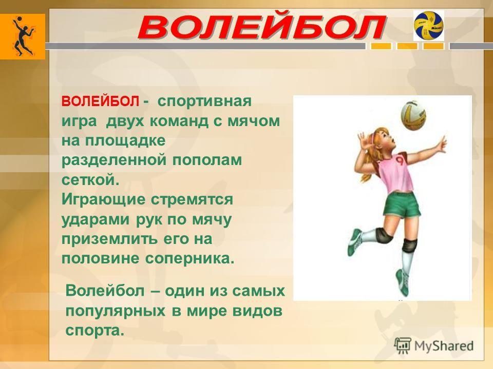 Волейбол – один из самых популярных в мире видов спорта. ВОЛЕЙБОЛ - спортивная игра двух команд с мячом на площадке разделенной пополам сеткой. Играющие стремятся ударами рук по мячу приземлить его на половине соперника.