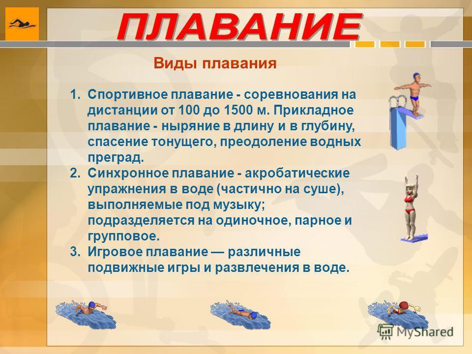 Виды плавания 1.Спортивное плавание - соревнования на дистанции от 100 до 1500 м. Прикладное плавание - ныряние в длину и в глубину, спасение тонущего, преодоление водных преград. 2.Синхронное плавание - акробатические упражнения в воде (частично на