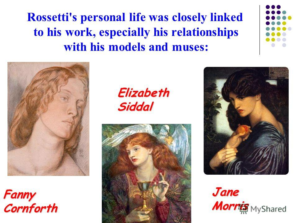Rossetti's personal life was closely linked to his work, especially his relationships with his models and muses: Fanny Cornforth Elizabeth Siddal Jane Morris