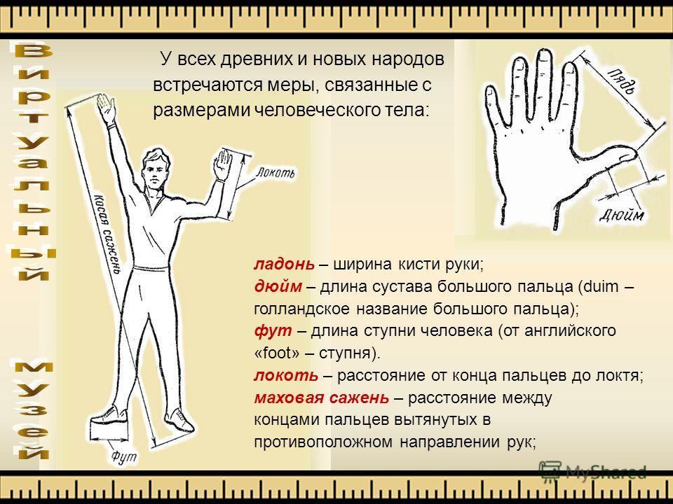 У всех древних и новых народов встречаются меры, связанные с размерами человеческого тела: ладонь – ширина кисти руки; дюйм – длина сустава большого пальца (duim – голландское название большого пальца); фут – длина ступни человека (от английского «fo