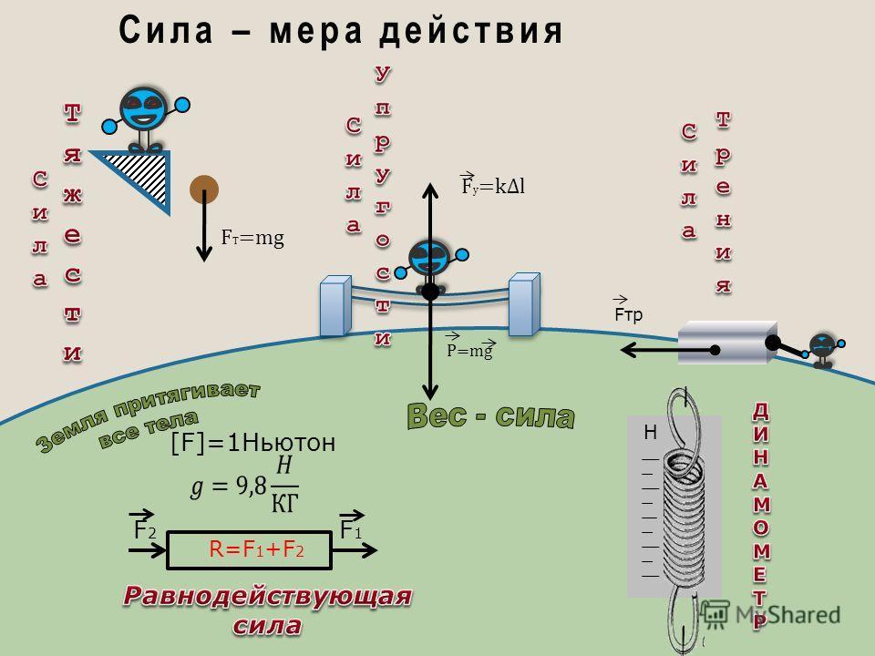 F T =mg Сила – мера действия P=mg F у =kl Fтр [F]=1Ньютон R=F 1 +F 2 F2F2 F1F1 Н