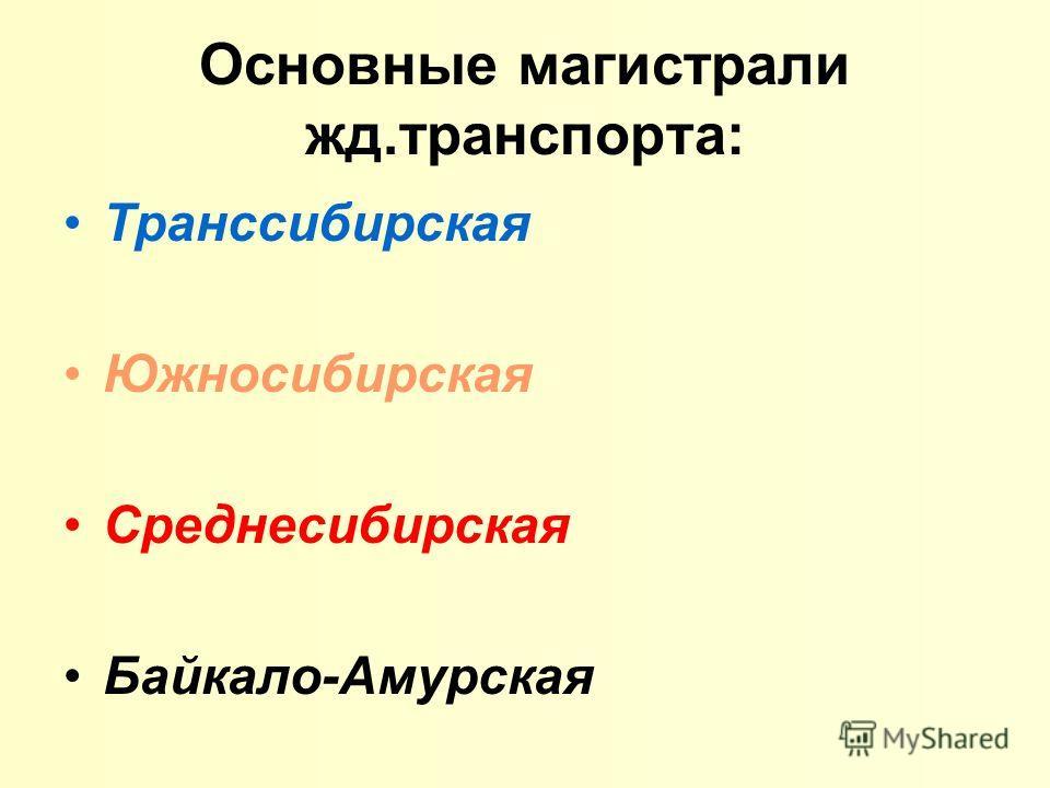 Основные магистрали жд.транспорта: Транссибирская Южносибирская Среднесибирская Байкало-Амурская