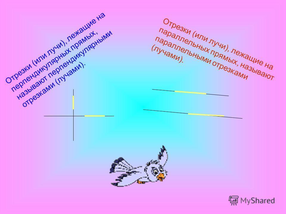 Отрезки (или лучи), лежащие на перпендикулярных прямых, называют перпендикулярными отрезками (лучами). Отрезки (или лучи), лежащие на параллельных прямых, называют параллельными отрезками (лучами).