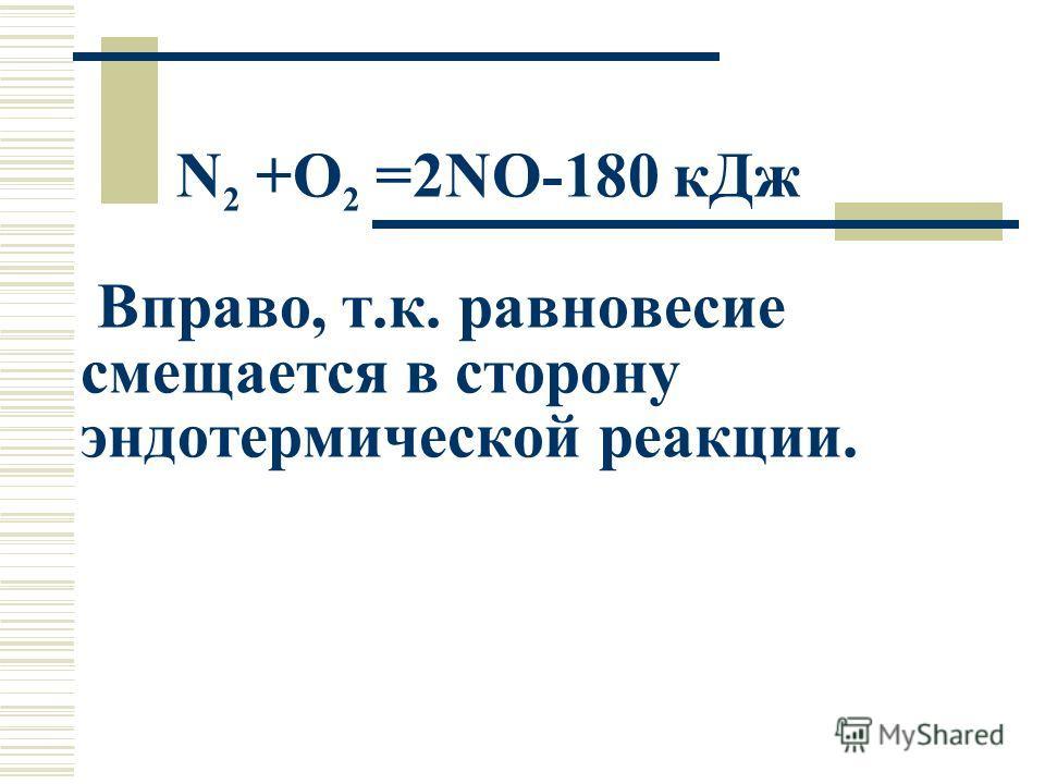 N 2 +O 2 =2NO-180 кДж Вправо, т.к. равновесие смещается в сторону эндотермической реакции.