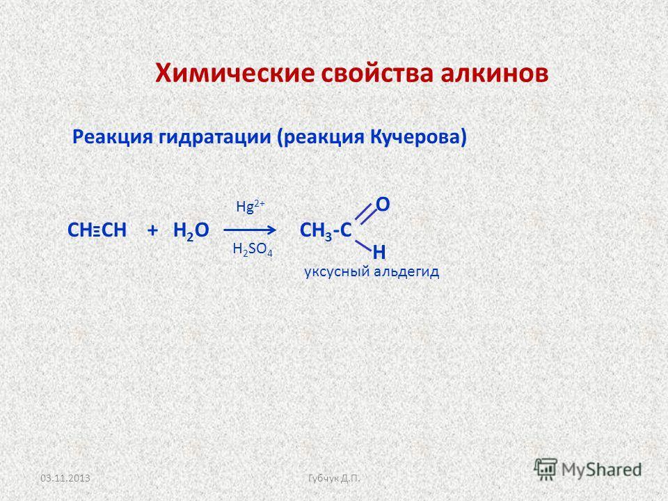 Реакция гидратации (реакция Кучерова) СН Ξ СН + Н 2 О СН 3 -С Hg 2+ H 2 SO 4 уксусный альдегид Химические свойства алкинов О Н 03.11.2013Губчук Д.П.