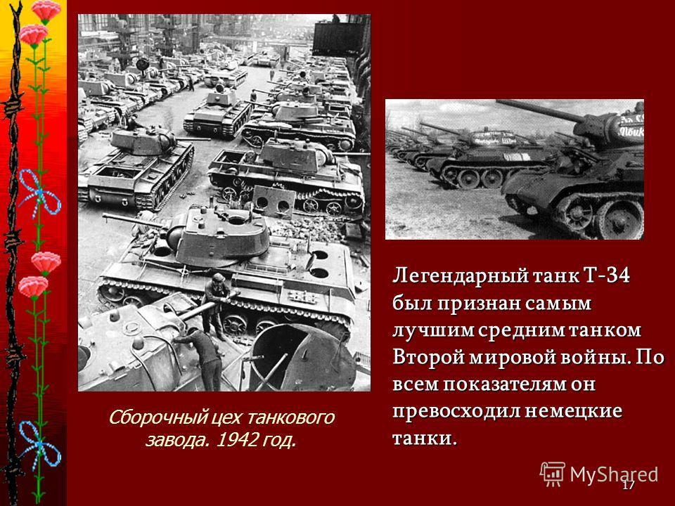 17 Легендарный танк Т-34 был признан самым лучшим средним танком Второй мировой войны. По всем показателям он превосходил немецкие танки. Сборочный цех танкового завода. 1942 год.