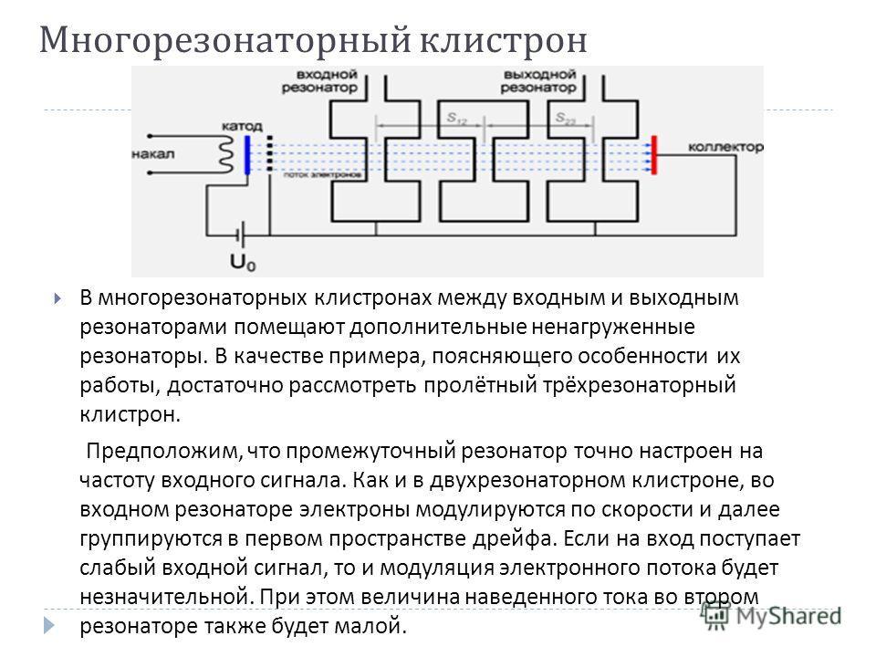 Многорезонаторный клистрон В многорезонаторных клистронах между входным и выходным резонаторами помещают дополнительные ненагруженные резонаторы. В качестве примера, поясняющего особенности их работы, достаточно рассмотреть пролётный трёхрезонаторный