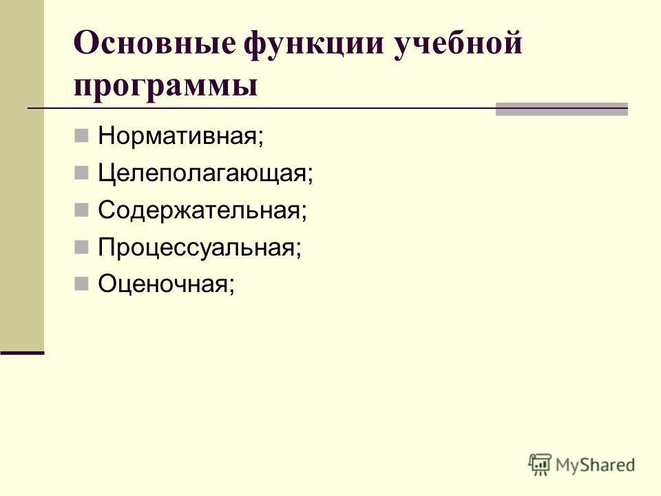 Основные функции учебной программы Нормативная; Целеполагающая; Содержательная; Процессуальная; Оценочная;