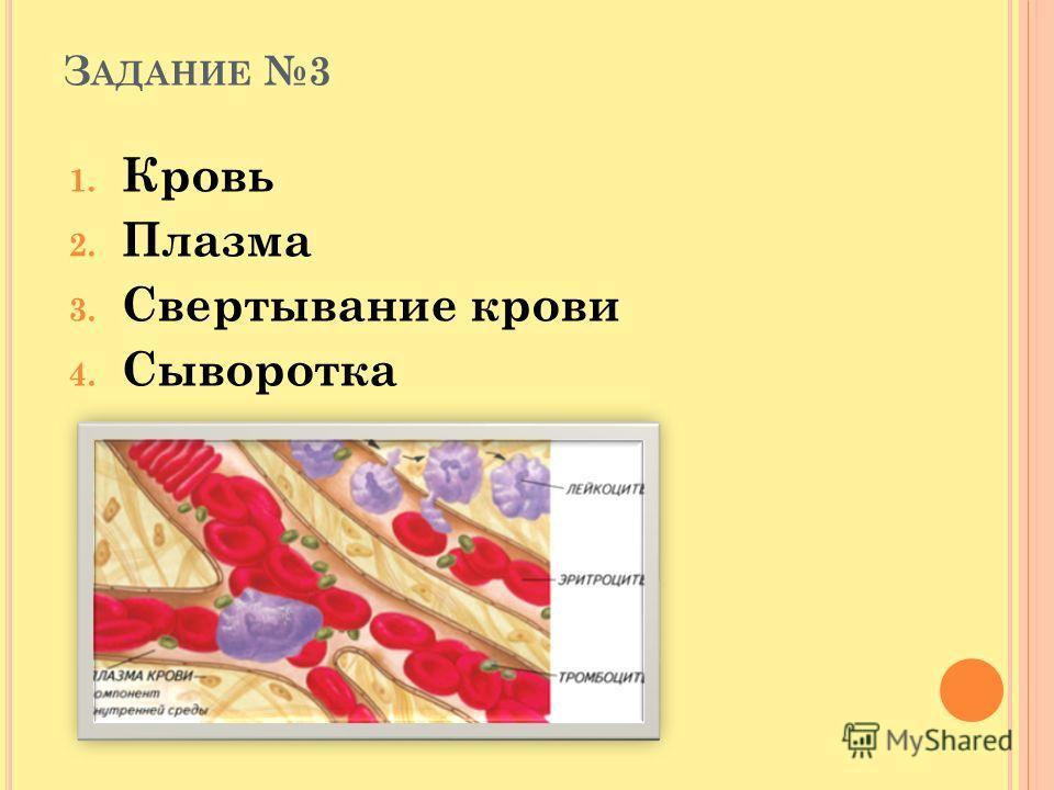 З АДАНИЕ 3 1. Кровь 2. Плазма 3. Свертывание крови 4. Сыворотка