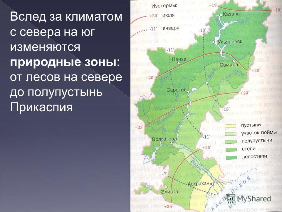Вслед за климатом с севера на юг изменяются природные зоны: от лесов на севере до полупустынь Прикаспия