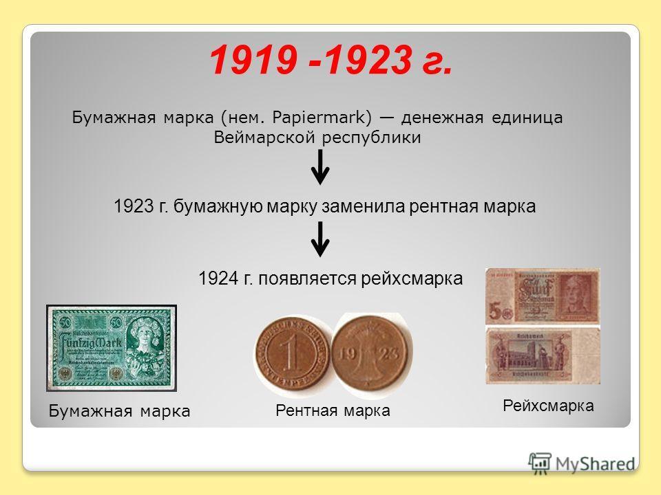 1919 -1923 г. Бумажная марка (нем. Papiermark) денежная единица Веймарской республики 1923 г. бумажную марку заменила рентная марка 1924 г. появляется рейхсмарка Рейхсмарка Бумажная марка Рентная марка