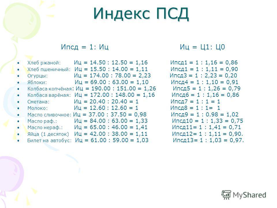 Индекс ПСД Ипсд = 1: Иц Иц = Ц1: Ц0 Хлеб ржаной: Иц = 14.50 : 12.50 = 1,16 Ипсд1 = 1 : 1,16 = 0,86 Хлеб пшеничный: Иц = 15.50 : 14.00 = 1,11 Ипсд1 = 1 : 1,11 = 0,90 Огурцы: Иц = 174.00 : 78.00 = 2,23 Ипсд3 = 1 : 2,23 = 0,20 Яблоки: Иц = 69.00 : 63.00