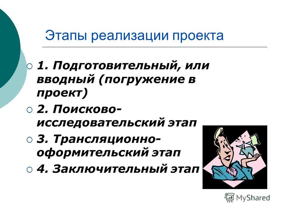 Этапы реализации проекта 1. Подготовительный, или вводный (погружение в проект) 2. Поисково- исследовательский этап 3. Трансляционно- оформительский этап 4. Заключительный этап