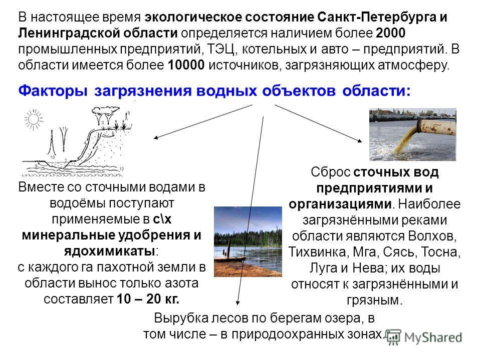 В настоящее время экологическое состояние Санкт-Петербурга и Ленинградской области определяется наличием более 2000 промышленных предприятий, ТЭЦ, котельных и авто – предприятий. В области имеется более 10000 источников, загрязняющих атмосферу. Факто