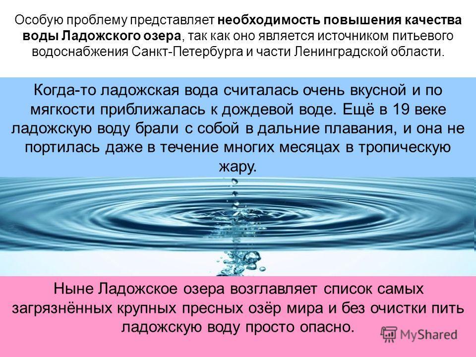 Особую проблему представляет необходимость повышения качества воды Ладожского озера, так как оно является источником питьевого водоснабжения Санкт-Петербурга и части Ленинградской области. Когда-то ладожская вода считалась очень вкусной и по мягкости