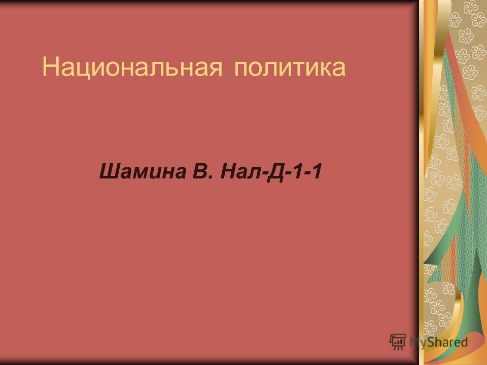 Национальная политика Шамина В. Нал-Д-1-1