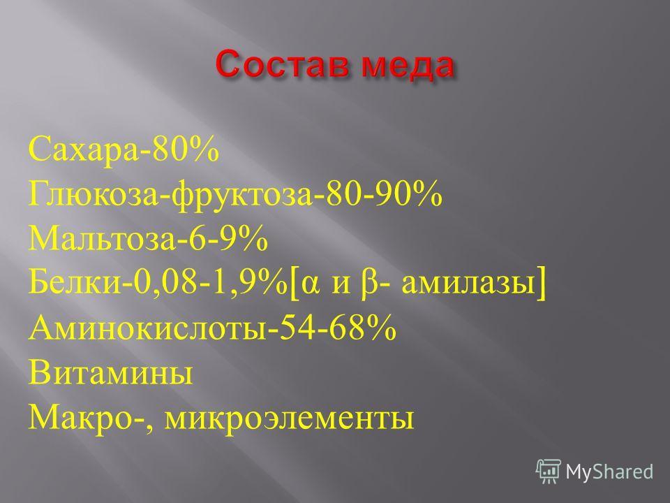 Сахара-80% Глюкоза-фруктоза-80-90% Мальтоза-6-9% Белки-0,08-1,9% [ α и β- амилазы ] Аминокислоты-54-68% Витамины Макро-, микроэлементы