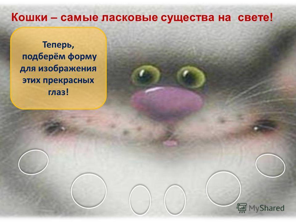 Кошки – самые ласковые существа на свете! Теперь, подберём форму для изображения этих прекрасных глаз!