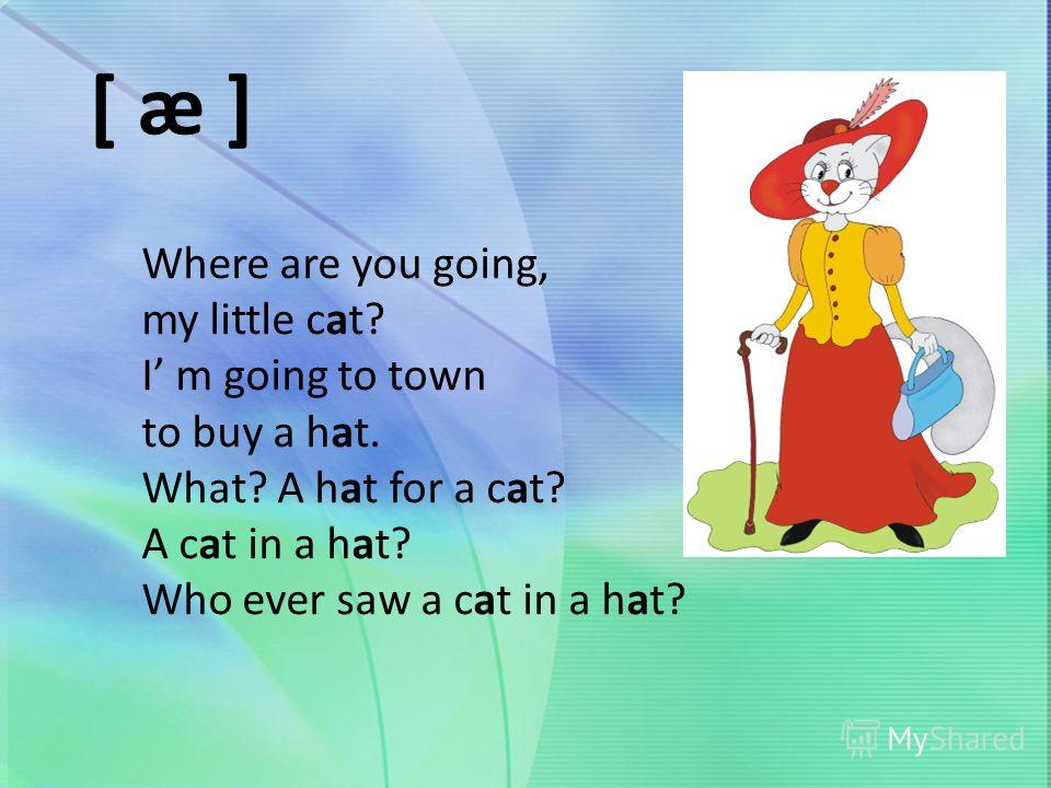 [ æ ] Where are you going, my little cat? I m going to town to buy a hat. What? A hat for a cat? A cat in a hat? Who ever saw a cat in a hat?