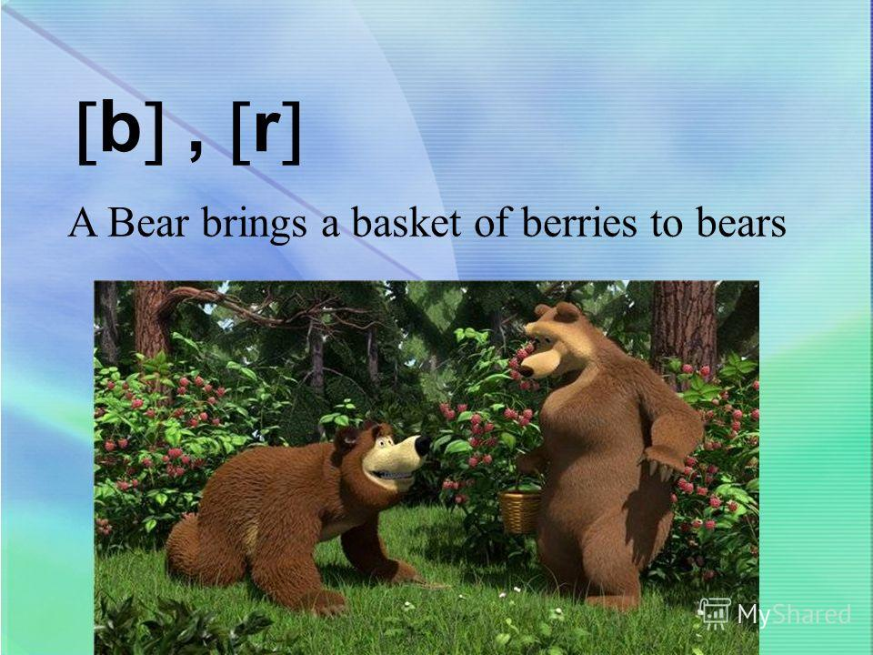 b, r A Bear brings a basket of berries to bears