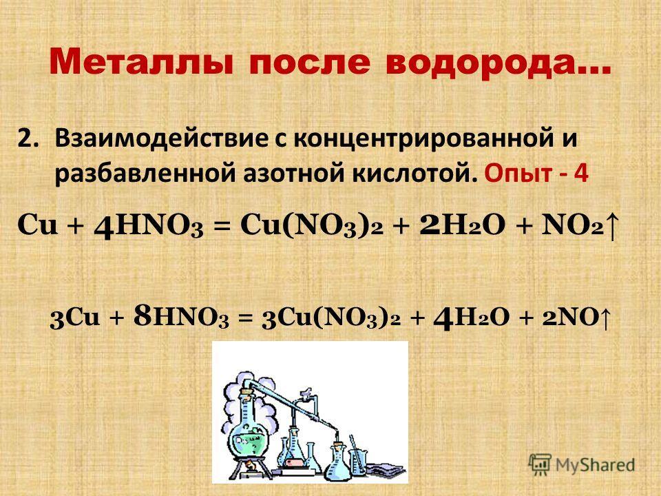 Металлы после водорода… 2.Взаимодействие с концентрированной и разбавленной азотной кислотой. Опыт - 4 Cu + 4 HNO 3 = Cu(NO 3 ) 2 + 2 H 2 O + NO 2 3Cu + 8 HNO 3 = 3Cu(NO 3 ) 2 + 4 H 2 O + 2NO