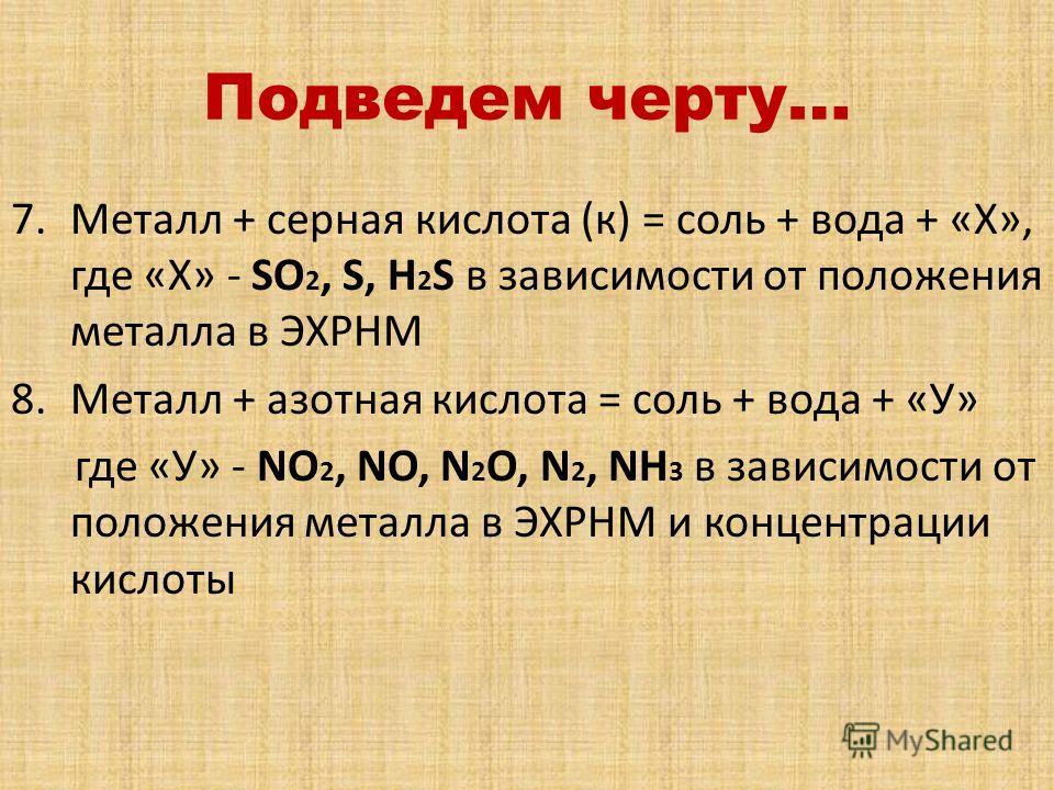 Подведем черту… 7.Металл + серная кислота (к) = соль + вода + «Х», где «Х» - SO 2, S, H 2 S в зависимости от положения металла в ЭХРНМ 8.Металл + азотная кислота = соль + вода + «У» где «У» - NO 2, NO, N 2 O, N 2, NH 3 в зависимости от положения мета